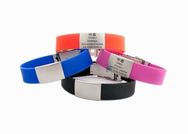 China Stainless Steel Silicone Sports Bracelets , Custom Engraved Bracelets For Women supplier
