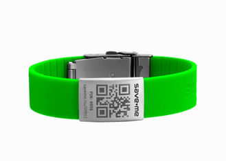China QR Code Medical Bracelet , Cool Silicone Bracelets With Engraved Metal ID Plates supplier