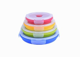 China Round Silicone Food Storage Containers / Food Sealed Silicone Lunch Box With Cutlery supplier