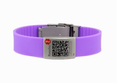 China Laser Engrave QR Code Silicone Bracelet Band Size 220*18mm Logo Customized OEM Accept distributor