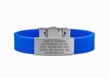 China Running Sports ID Band / Silicone Medical Alert Wristbands With 304 Stainless Steel Buckle factory