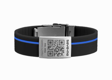 China Safety QR Code Silicone Wristbands , Silicone Sports Bracelets With Blue Line factory