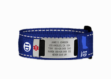 China Adjustable Sports ID Wristbands , Nylon Velcro ID Bracelet With Metal Tag / Slider distributor