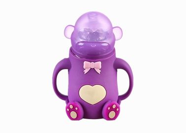 China Wide Neck Silicone Baby Feeding Bottle Bear Shape With Handle FDA Approved distributor