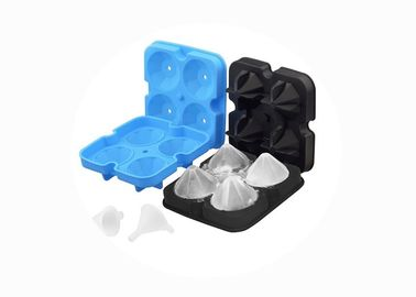 China 4 Holes Diamond Ice Cube Tray , Silicone Diamond Ice Mold OEM / ODM Accept distributor
