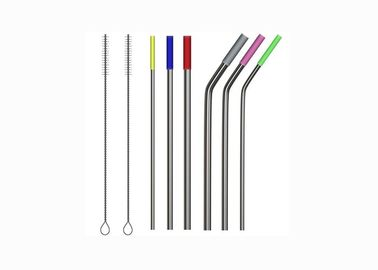 China Multicolored Silicone Reusable Drinking Straws / 6mm 8mm Soft Silicone Tips distributor