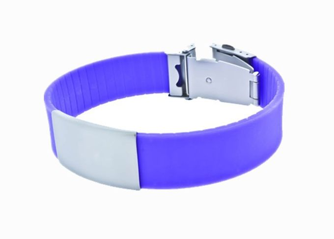 Waterproof Sports Silicone Wristbands / Running Identity Bracelet Size Adjustable
