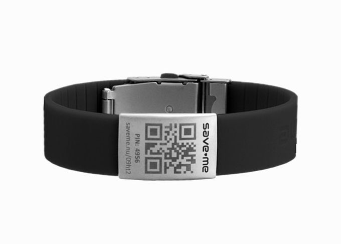 QR Code Medical Bracelet , Cool Silicone Bracelets With Engraved Metal ID Plates